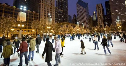 Skating at the McCormick Tribune Ice Rink in Millennium Park (Photo courtesy of the Chicago Department of Cultural Affairs and Events)