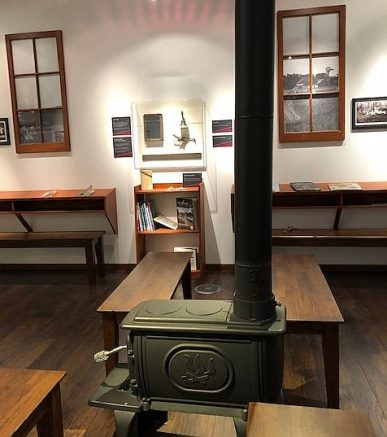 The new Dunn Museum in Lake County has space now for visitors to sit in a one room school house. (J Jacobs photo)