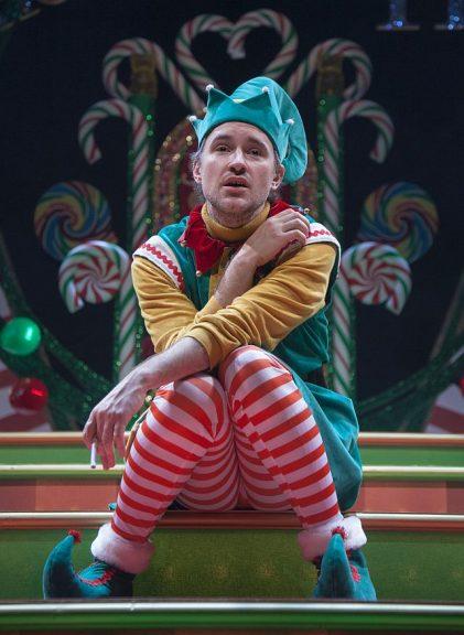 Matt Crowle as Crumpet the Elf in the Santaland Diaries at Goodman Theatre. (Erik Erik Scanlon photo)