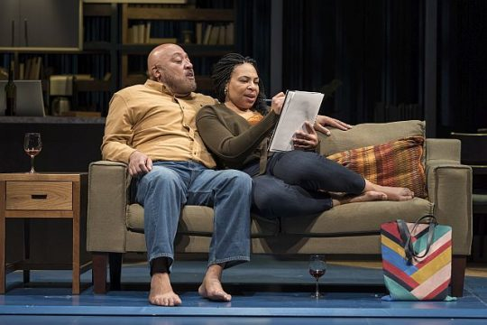 Keith Randolph Smith (Grifin) and Karen Aldridge (Tami) in the world premiere of How to Catch Creation at GoodmanTheatre.