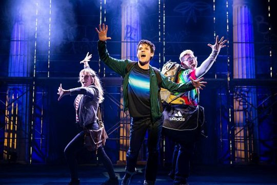 Kristin Stokes,l, Chris McCarrell and Jorrel Javier go on a hero quest in The Lightning Thief: The Percy Jackson Musical. (Photo: Jeremy Daniel)