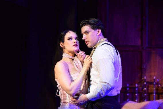 Emily Goldberg (Sibella Hallward) and Andres Enriquez (Monty Novarro) in A Gentleman's Guide to Love and Murder. (Photo by Michael Courier)