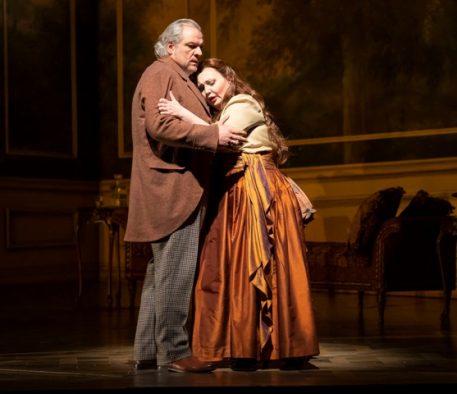 Zeljkp Lucic (Giorgio Germont and Albina Shagimuratova (Violetta) in Lyric Opera's La traviata. (Photo by Todd Rosenberg)