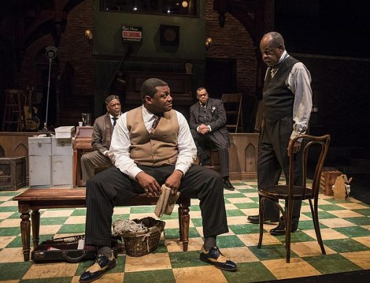 From left: David Alan Anderson, Kelvin Roston, Jr., A.C. Smith and Alfred H. Wilson in 'Ma Rainey's Black Bottom'at Writers Theatre. (Photo by Michael Brosilow)