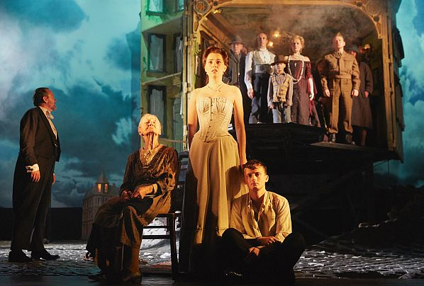 Jeff Harmer, Diana Payne-Myers, Lianne Harvey, Hamish Riddle, Andrew Macklin, Christine Kavanagh and Ensemble in An Inspector Calls. (Photo by Mark Douet)