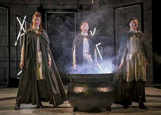 The Weyard Sisters (Caitlan Taylor, Caroline Chu, and Emma Ladji) in Chicago Shakespeare Theater's production of Short Shakespeare! Macbeth. (Liz Loren photo)