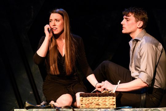 Cyndey Moody and Mike Newquist in Deadman's Cell Phone at Greenhouse theater. (Photo by Paul Goyette