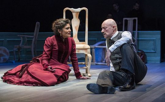 Sandra Marquez (Nora) and Yasen Payankov (Torvald) in A Doll's House Part 2 at Stepponwolf Theatre. (Photos by Michael Brosilow)