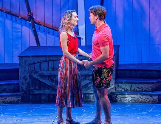 Rebecca Hurd and Liam Quealy in Mamma Mia at Drury Lane Theatre. (Brett Beiner photo)