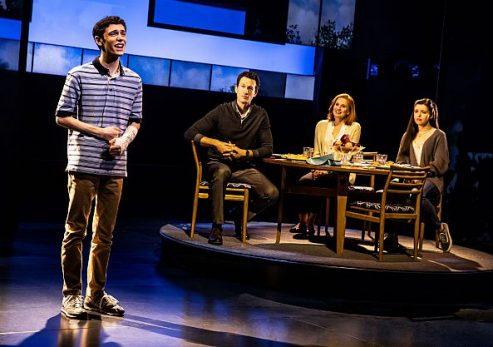 From left Ben Levi Ross (Evan Hansen, Aaron Lazar (Larry Murphy, Christine Noll (Cynthia Murphy) and Maggie McKenna (Zoe Murphy) in North American tour of Dear Evan Hansen.