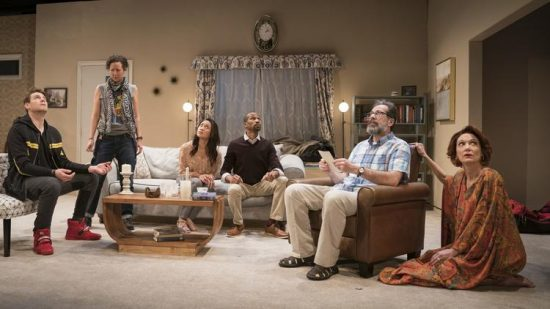 "Walter Briggs, Kristina Valada-Viars, Emjoy Gavino, Anthony Irons, Rom Barkhordar and Shannon Cochran in ""Act(s) of God"" by Lookingglass Theatre Company. (Liz Lauren photo)"
