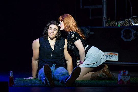 L-to-R-Anthony Nuccio (Drew) and Katie LaMark (*Sherrie) in Rock of Ages. (Photo by Jeremy Daniel)