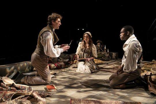 Walter Briggs, Cordelia Dewdney and Debo Balogun in Mary Shelly's 'Frankenstein' at Lookingglass Theatre. (Photo by Liz Lauren)