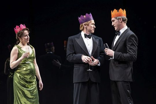 Kate Fry (Hermione), Dan Donohue (Leontes) and Nathan Hosner (Polixenes) in The Winter's Tale at Goodman Theatre. (Liz Lauren photo)