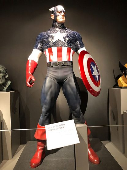 "'Marvelocity"" has original artwork by Alex Ross and superhero figures and busts. (J Jacobs photo)"