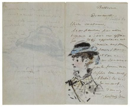 Édouard Manet. Letter to Madame Jules Guillemet, Decorated with a Portrait and a Still Life of a Bag and a Parasol, July 1880. Private Collection. (Credit: Saint Honoré Art Consulting, Paris.)