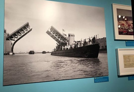 Photo of the U-505 making its way to Chicago in in an exhibit at the Museum of science and Industry. (J Jacobs photo)