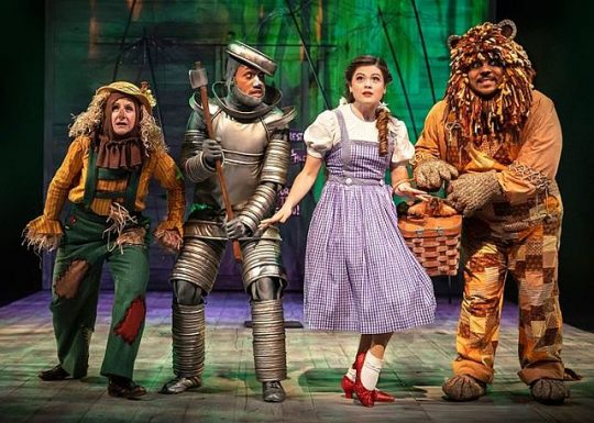The Scarecrow (Marya Grandy), The Tin Man (Joseph Anthony Byrd), Dorothy (Leryn Turlington), and The Cowardly Lion (Jose Antonio Garcia) join together in an adventure down the Yellow Brick Road. (Photo by Liz Lauren)