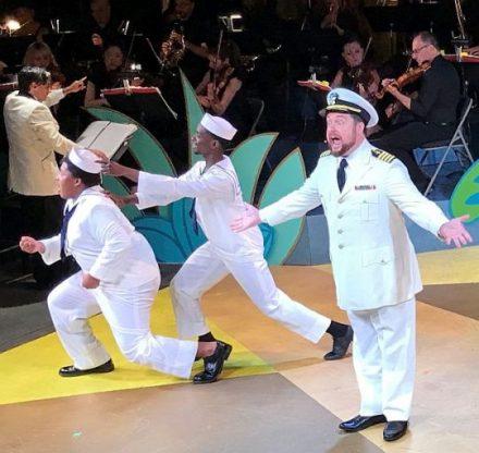 Nick Pulikowski as Captain Stone with sailors. (Photo courtesy of Foks Operetta)