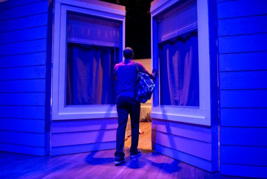Michael Aaron Pogue as Izzy leads the audience into a scene of 'The Recommendation at Windy City Playhouse. (Michael Brosilow photos)