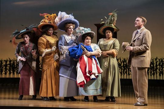 Heidi Kettenring (Eulalie Mackecknie Shinn), Nicole Michelle Haskins (Alma Hix), Bri Sudia (Maud Dunlop), Lillian Castillo (Ethel Toffelmier) and Danielle Davis (Mrs. Squires) (Photo by Liz Lauren)
