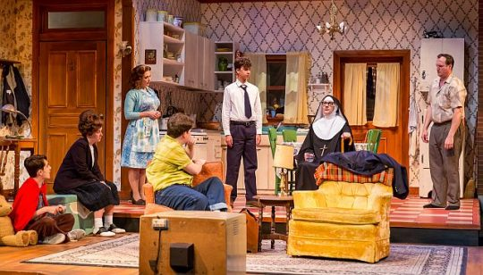 Cast of Over the Tavern at Theatre at the Center. (Photo by Guy Rhodes)