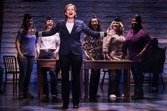 L to R, Megan McGinnis, Emily Walton, Becky Gulsvig, Christine Toy Johnson,Julie Johnson and Daniele K. Thomas on 'Come From Away' touri. (Matthew Murphy photo)