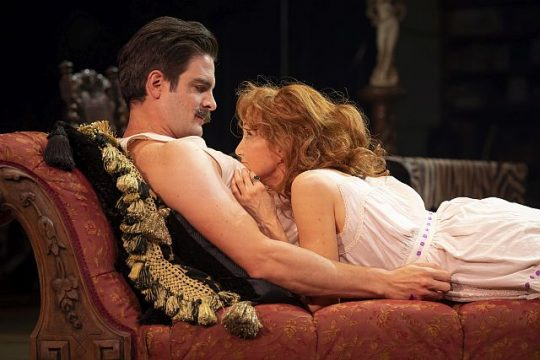 John Tufts (Edmond Rostand) and Terri McMahon (Sarah Bernhardt) in Bernhardt/Hamlet at Goodman theatre. (Liz Loren photo)