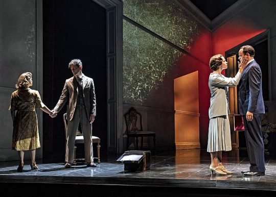 Myrtle (Elizabeth Ledo) and Lionel Logue (James Frain), Left, and Elizabeth (Rebecca Night) and Bertie (Harry Hadden-Paton) in Chicago Shakespeare's The King's Speech. (Photo by Liz Lauren.)