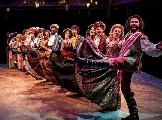 High-kicking, high-energy cast of Something Rotten at Marriott Theatre. (Liz Loren photo)
