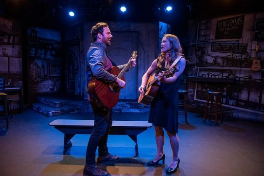 (left to right) Patrick Mulvey and Chaon Cross in Greenhouse Theater Center and Proxy Theatre production of Midsummer, a pay with songs. (Photo by Michael Brosilow)
