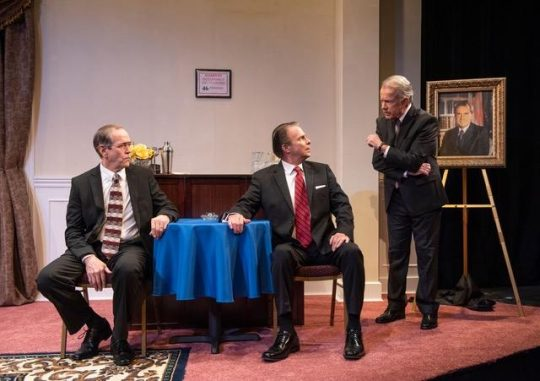 Past presidents discuss events and each other in American Blues Theater's 'Five Presidents.' (Photo courtesy of American Blues Theater.)