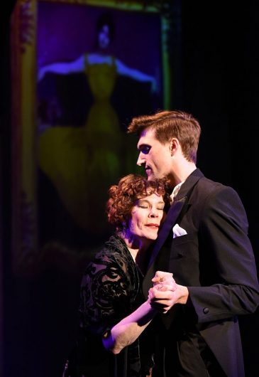 (L to R) Hollis Resnik as Norma Desmond and Billy Rude as Joe Gillis in Sunset Boulevard at Porchlight Music Theatre .(Photo by Michael Courier )