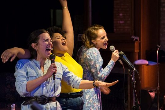 (left to right) Kelly Combs, Lena Dudley and Charlie Irving in New American Folk Theatre's world premiere of My Life is a Country Song.. Photo by Joseph Ramski Photography.