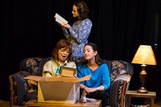 (left to right) Judy Lea Steele, Charlie Irving and Kelly Combs in New American Folk Theatre's world premiere of My Life is a Country Song.. Photo by Joseph Ramski Photography.