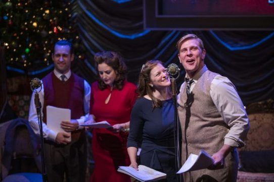 Ian Paul Custer, Dara Cameron, Gwendolyn Whiteside and Brandon Dahlquist in It's A Wonderful Life: Live in Chicago (Photo by Michael Brosilow)