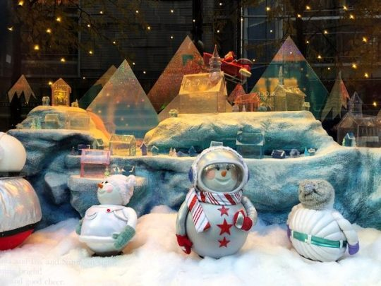 Macy's windows tell a holiday story of some toys that help Santa. (J Jacobs photo)