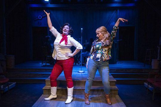 (left to right) Harmony France and Christina Hall in Firebrand Theatre's Always...Patsy Cline.(Photo by Michael Brosilow.)