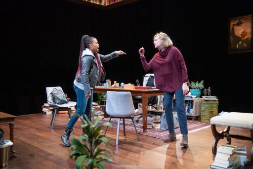 eft to right Ayanna Bria Bakari(Zoe) and Mary Beth Fisher(Janine) in The Niceties at Writers Theatre. (Michael Brosilow Photos )