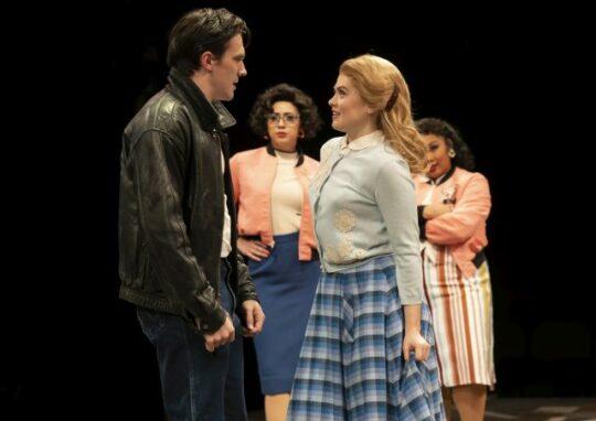 Jimmy Nicholas, Michelle Lauto, Leryn Turlington, Tiffany T. Taylor in Grease at Marriott Theatre. (Liz Lauren photo