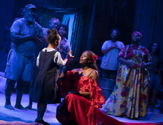 MiMi Crossland as Little-Girl, Courtnee-Carter as Ti-Moune and the Company of the North American Tour of Onece on This Island. (Photo by Joan Marcus)