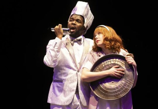 Jonathan Butler-Duplessis and Landree Fleming in Grease at Marriott Theatre. (Liz Lauren photo
