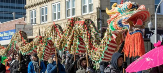 celebrates with its annual Argyle parade. (Photo courtesy of Uptown Assoc.)