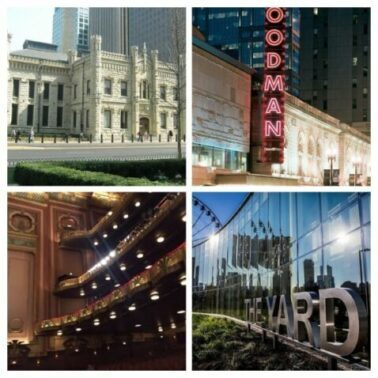 heater venues range from Chicago's Lookingglass theatre in the historic Water Works (top left) and the lyric Opera House, bottom left to Goodman Theatre in a remodeled former movie theater building to the new Yard at Chicago Shakespeare on Navy Pier, bottom right. (J Jacobs photo)