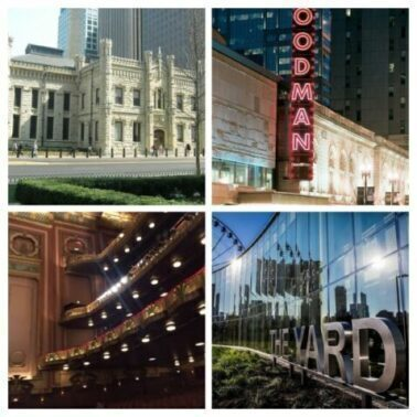 Chicagoland's more than 200 theater venues include Lookingglass Theatre in the historic Water Works (top left) and the Lyric Opera House, bottom left plus Goodman Theatre in a remodeled former movie theater building and the Yard at Chicago Shakespeare on Navy Pier, bottom right. (J Jacobs photo)