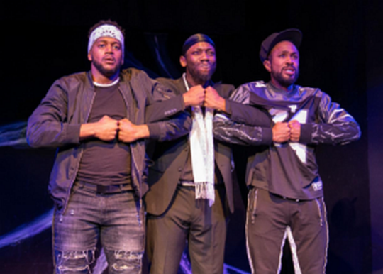 "Grif (Cage Sebastian Pierre, from left), Isa (Kai A. Ealy) and Daz (Charles Andrew Gardner) in TimeLine Theatre's Chicago premiere of ""Kill Move Paradise."" ( (Lara Goetsch photo)"