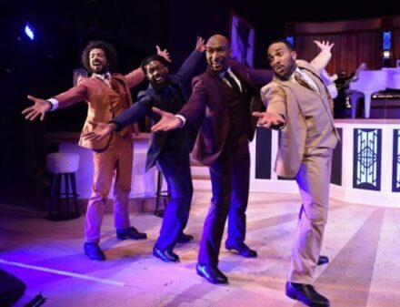 (L to R) Joey Stone, Eustace J. Williams, Donterrio Johnson and Chuckie Benson in I've Got to Be a Rug Cutter from Sophisticated Ladies by Porchlight Music Theatre (Photo courtesy of PMT)