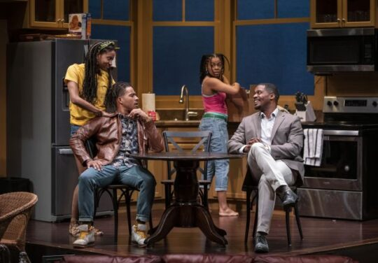 Latimore, Gerard, Bakari, Henning in Stick Fly at Writers Theatre. (Michael Brosilow photo)
