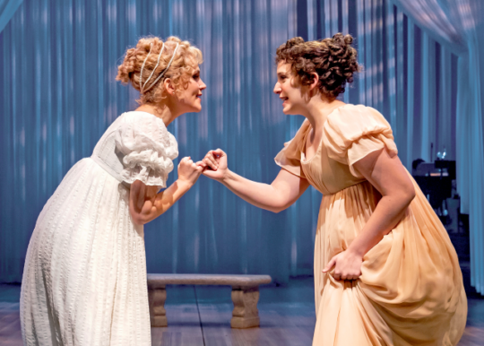 Emma (Lora Lee Gayer) takes the impressionable Harriet Smith (Ephie Aardema) under her wing. (Photo by Liz Laure)