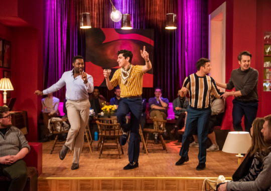 Standing, from left) Denzel Tsopnang, William Marquez, James Lee and Jackson Evans in The Boys in the Band at Windy City Playhouse. (Michael Brosilow photo)